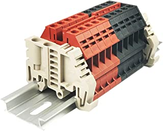 Dinkle Combiner DK4N Red/Black Positive 5 Gang Negative 5 Gang Box Connector DIN Rail Terminal Blocks, 10-22 AWG, 30 Amp, 600 Volt, Common Positive Circuits, Common Negative Circuits