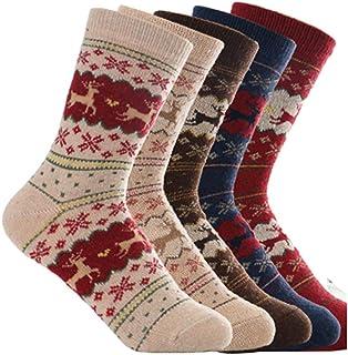 Oliked, Calcetines de mezcla de lana para mujer, 5 unidades, varios diseños