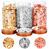 3 Boxes Gilding Flakes, Gold Foil Flakes for Resin, Gold Leaf Gilding Flakes Metallic Foil Flakes for Painting Arts and Resin Crafts, Nail Art (Gold, Silver, Copper Colors)