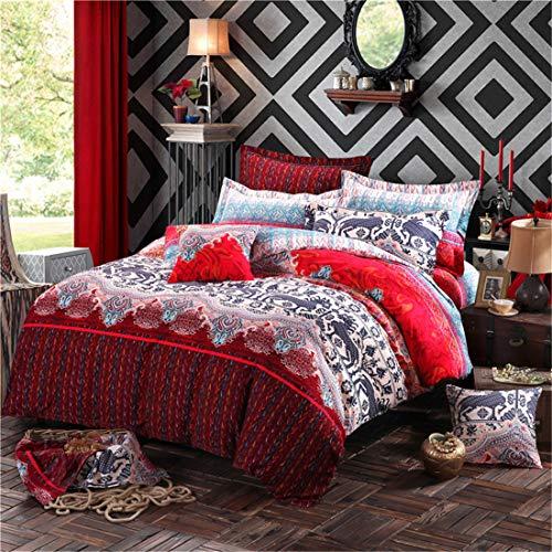 Juego de funda de edredón para cama doble, estilo bohemio, retro, funda de edredón y 2 fundas de almohada, diseño bohemio floral, 100% algodón, 1 funda de edredón y 2 fundas de almohada, color rojo