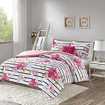 Comfort Spaces Zoe Comforter Set Printed Striped Floral Design with Faux Long Fur Decorative Pillow Bedding, Twin/Twin XL, Pink