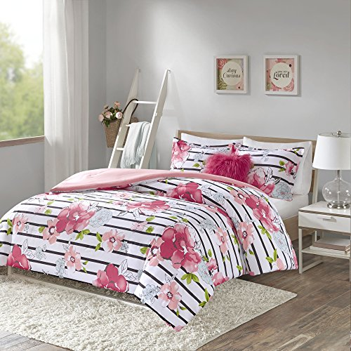 Comfort Spaces Zoe Comforter Set Printed Striped Floral Design with Faux Long Fur Decorative Pillow Bedding, Full/Queen, Pink