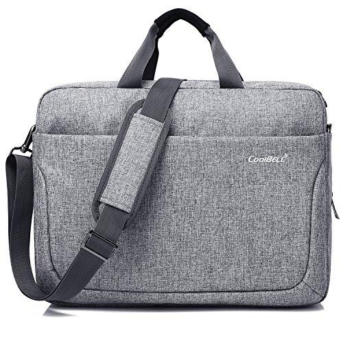 CoolBELL 17,3 Zoll Laptop Tasche Multi-Fach Messenger Bag Business Aktentasche Arbeitstasche Nylon Notebook Schultertasche Umhängetasche für Laptop/MacBook/Männer/Frauen(Grau)