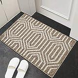 """Indoor Doormat, 24""""x35"""" Front Back Door Mat Rubber Backing Non Slip Door Mats Absorbent Resist Dirt Entrance Doormat Inside Floor Mats Area Rug for Entryway Machine Washable Low-Profile(Brown)"""