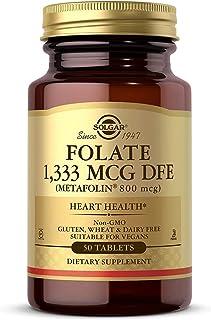Solgar Folate 1,333 mcg DFE, 50 Tablets - 800 mcg Bio-Active Metafolin - Heart Health - Non-GMO, Vegan, Gluten Free, Dairy...