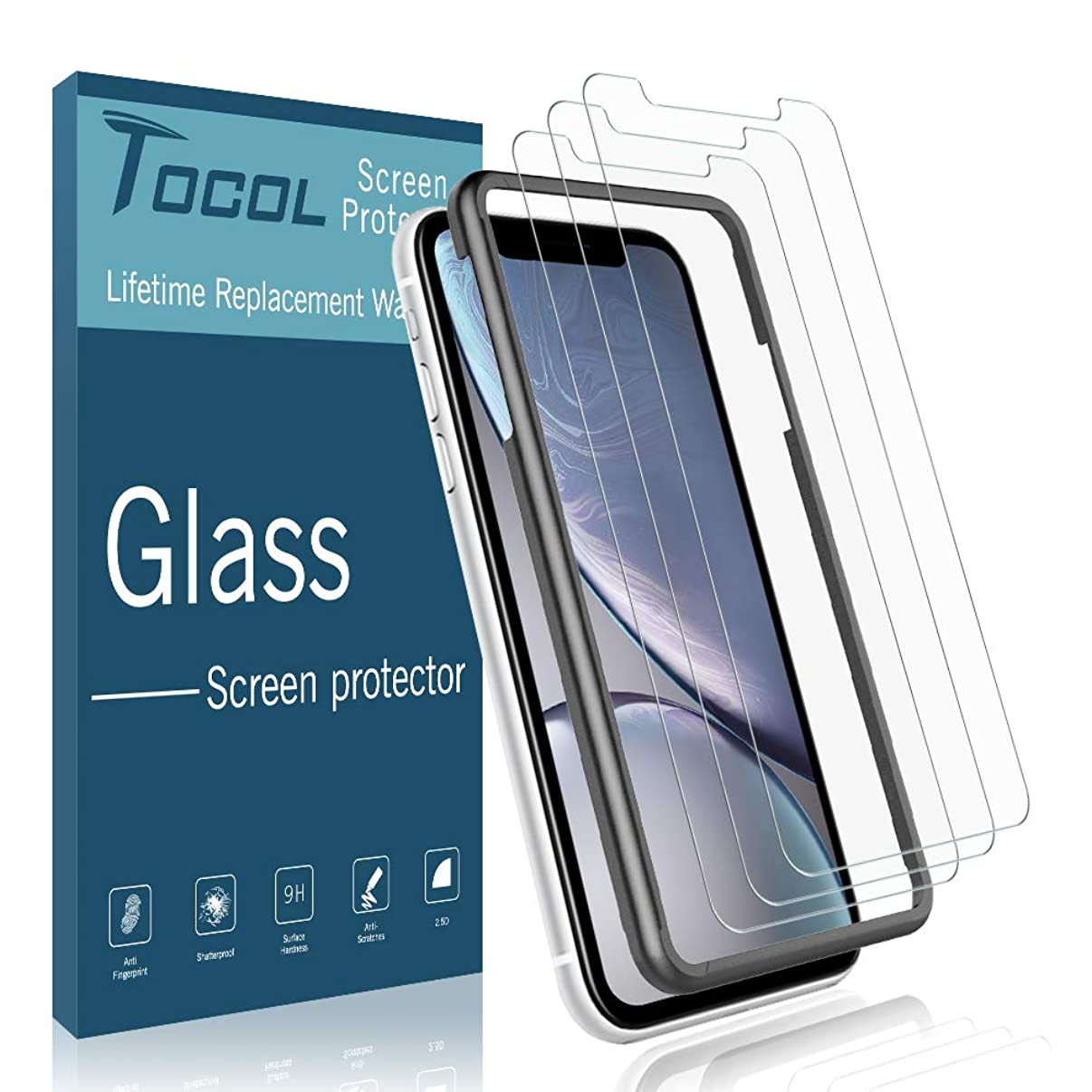 TOCOL [3 Pack] Screen Protector for iPhone XR, [Alignment Frame Easy Installation] Double Free [Anti Scratch] HD Clear Tempered Glass Film with Lifetime Replacement Warranty