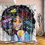 WODEJIA American Black Girl Print Waterproof Fabric Shower Curtain Liner Covered Bathtub Bathroom Curtains Includes 12 Anti Rust Hooks