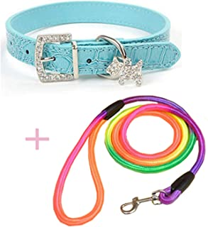 lovely-xj 1pcs Pet Dog Collar Puppy Pet Buckle Dogs Leads Neck Strap PU Leather Pet Accessories+1pcs Nylon Belt Pet Dog Traction Rope-in Collars