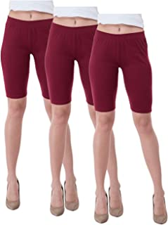IndiWeaves Women's Cotton Cycling Shorts (Csw02-03-iw_Maroon_36) Pack of 3