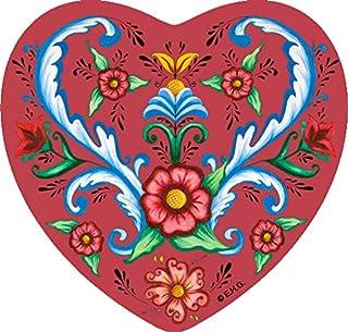 Classic Scandinavian Rosemaling Design Heart Magnet Tile