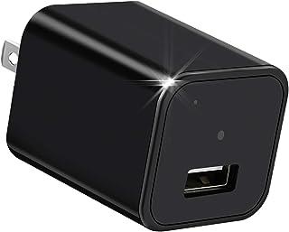 隠しカメラ スパイカメラ LIK 動体検知 繰り返し録画 ミニカメラ 超小型カメラ HD 1080P高画質 ミニ防犯カメラ ACアダプター型 屋内セキュリティカメラ 日本語取扱説明書付き ブラック