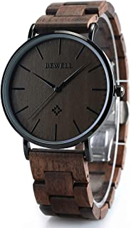 BEWELL Wooden Watches for Men/Women Slim Analog Quartz Minimalist Couple Wrist Watch W163A