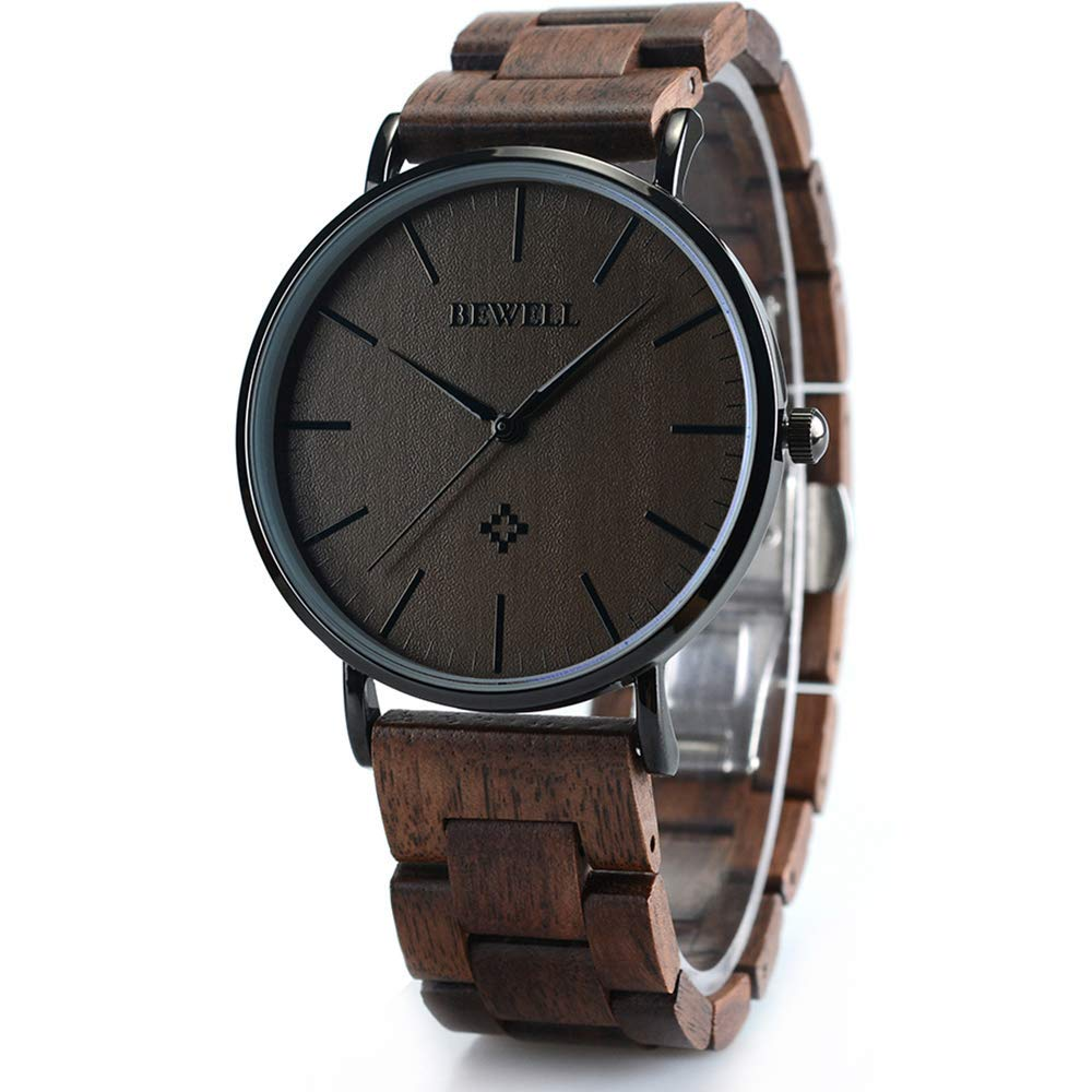 BEWELL Wooden Watches Minimalist Men Black