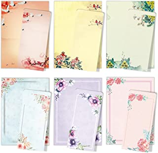 ست کاغذ و پاکت لوازم التحریر ژاپنی ANZON MORIES A4 ، 48 مقاله نوشتن نامه با 24 پاکت خود مهر و موم ، مناسب چاپ ، رنگ هر دو طرف ، رنگ آمیزی جوهر طرح گل کلاسیک