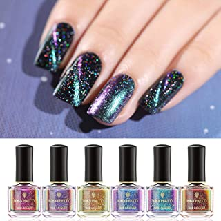BORN PRETTY Magnetic Nail Polish Holographic Gorgeous Fingers Nails Polish for Women and Girls, 6 Bottles Set