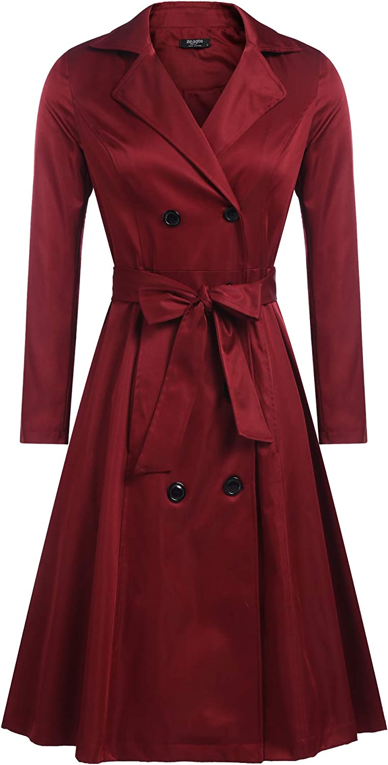 Zeagoo Women's Sacramento Mall Trench Coats Double-Breasted Belt gift with Long Coat