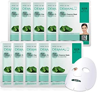DERMAL Aloe Collagen Essence Facial Mask Sheet 23g Pack of 10 - Skin Revitalizing & Soothing, Refreshing and Moisturizing,...