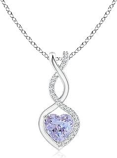 Tanzanite Infinity Heart Pendant with Diamonds (5mm...