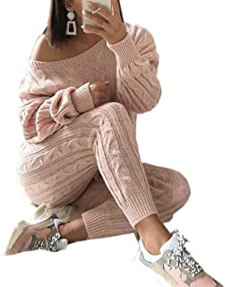 6f157fe06af90 LKOUS Women s 2 Piece Outfit Off Shoulder Long Sleeve Knit Pullover Sweater  Top and High Waist