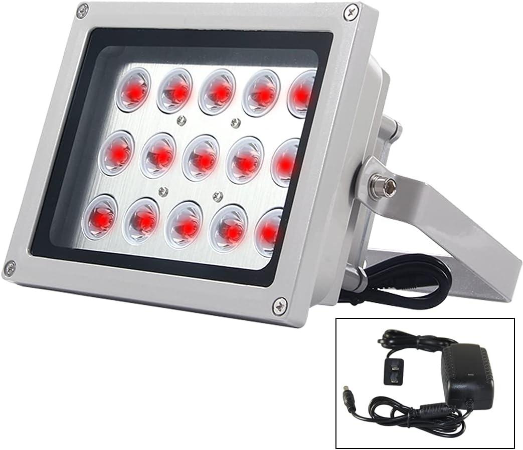 IR Illuminator for Security Cameras 45 Degree Wide Angle DC12V 15W 15pcs LEDs Auto ON/Off IR Infrared Light LED Fill Light with Auto Light Control & 360 Degree Adjustment Bracket