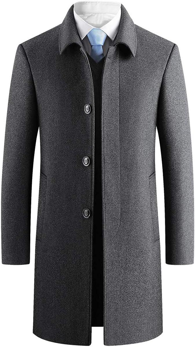Men's Wool Blend Trench Coat Slim Fit Stylish Winter Fleece Lined OverCoat