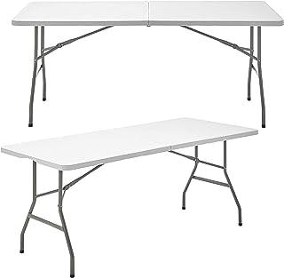 Mesa Plegable Rectangular de Resina Multifuncional, para jardín, Camping, reuniones y Catering Color Blanco Roto 240cmx75c...