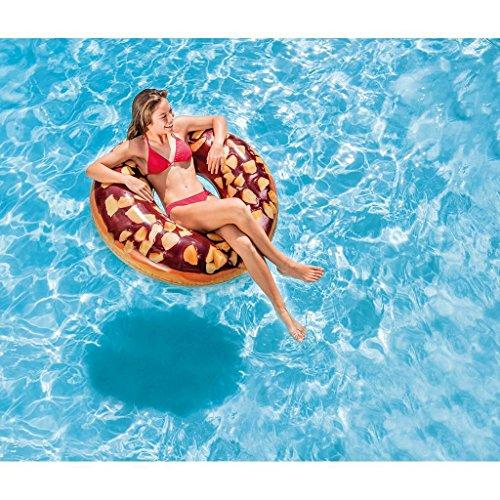 Lustiger Donut - Schoko mit Nuss - Badering Schwimmring Schwimm Ring Schwimmreifen Reifen Swim Ring Schwimmreifen aufgeblasen ca. 114 cm, PVC Folie ca. 0,25 mm super Schwimmspass Kinder Spass