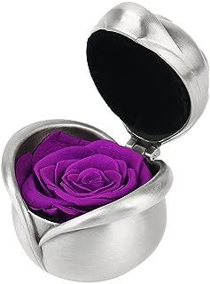 Smiley Handmade Preserved Flower Rose - Preserved Fresh Flower Eternity Rose, Gift for Valentine's Day, Mother's Day, Thanksgiving Day, Christmas, Birthday, Anniversary (Purple)