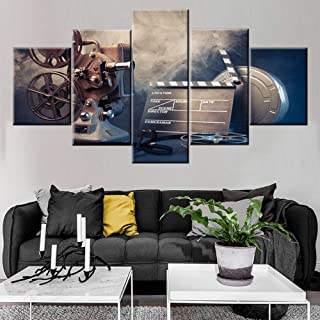 Wall Pictures for Living Room Old Film Projector Paintings Sepia Still-Life Vintage Artwork 5 Panel Prints Wall Art on Canvas Contemporary House Decor Framed Gallery-Wrapped Ready to Hang(60''Wx32''H)