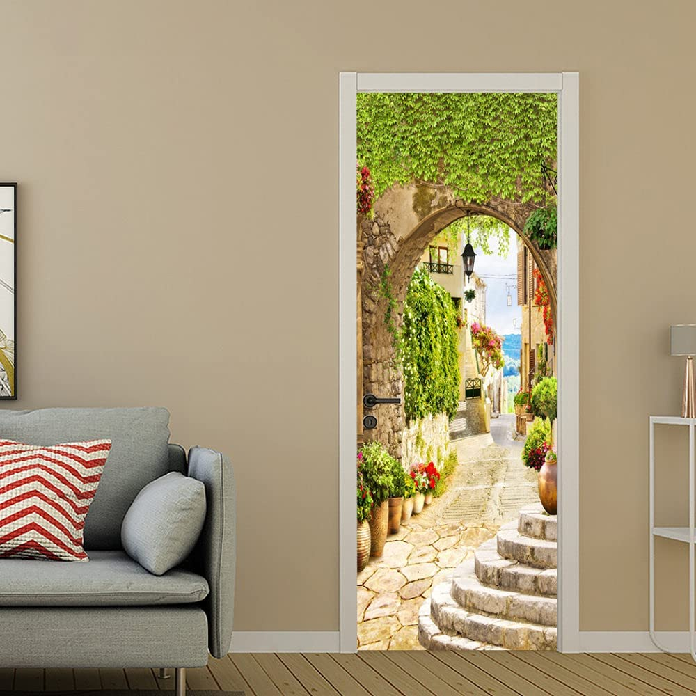 SONYUN Beauty products Some reservation 3D Door Stickers Murals Wa Green Creative Plant Stairs