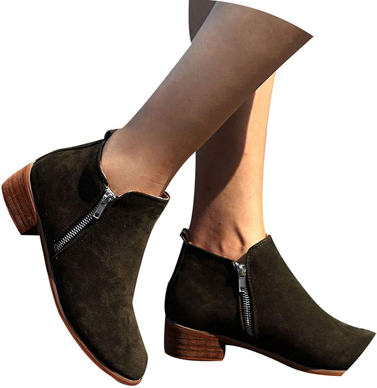Meet- fashion Ladies Chaussure Women shoes Woman Sapato Girls Ankle Boots Square Chunky Low Heels Booties