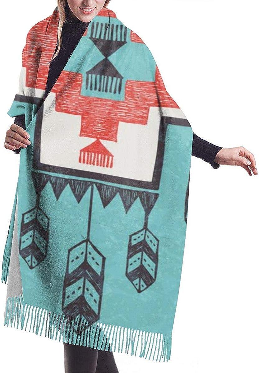 QBahoe Native Ethnic Indian Aztec Folkloric Birds Cashmere Scarf for Women Men Lightweight Unisex Fashion Soft Winter Scarves Fringe Shawl Wrap