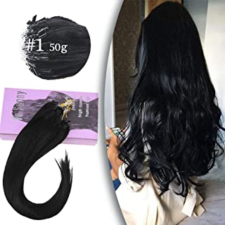 VeSunny 1G/Strand Micro Loop Extensions Black Human Hair 50 Strands MIcro Ring Link Hair Extensions Jet Black Real Remy Hair 18inch 50G/Set