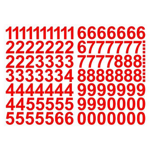 Skittz-Werbetechnik Leicht anzubringende Zahlen Aufkleber 4cm in rot glänzend - 101 HOCHWERTIGE KLEBEZAHLEN - Selbstklebende Ziffern und Nummern 0-9 - Wasser und wetterfest ideal für den Außenbereich