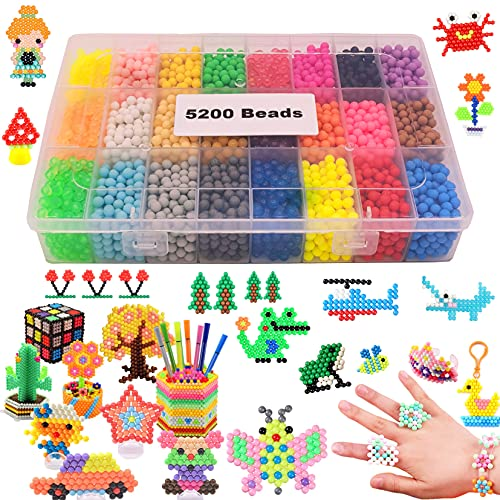 Water Fuse Beads Refill 5mm 5200 Beads 24 Colors Creative Waterbeads Magic Water Sticky Beads Art Crafts Toys for Kid's Arts & Crafts