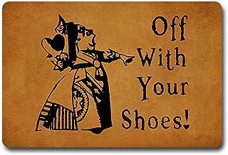 ZKSMYX Off with Your Shoes! Queen of Hearts Alice in Wonderland Doormat Entrance Floor Mat Funny Doormat Door Mat Decorati...