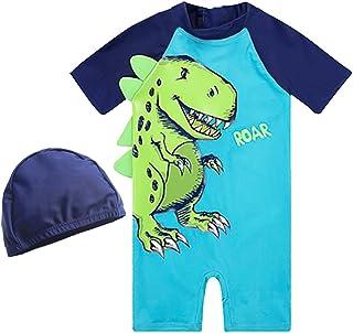 Spinas(スピナス) かわいい 水着 キッズ 半袖 ラッシュガード 帽子付き つなぎ セパレート 恐竜柄 日焼け防止 プール 夏 海水浴 80㎝~130㎝