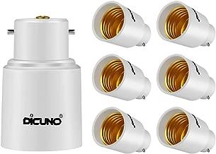 DiCUNO B22 to E27/E26 Adaptor, Converter Chandelier Socket to Medium Socket, LED Light Bulbs Converter, Max Wattage 300W, 165 Degree Heat Resistant (6-Pack)