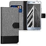 kwmobile Motorola Moto X4 Hülle - Kunstleder Wallet Case für Motorola Moto X4 mit Kartenfächern & Stand - Grau Schwarz