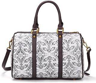 Fine Bag/Bucket Bag Leather Retro Handbag Flower Top Bag Messenger Bag Ladies Shoulder Bag Multi-Pocket Capacity (Color : White, Size : One Size)