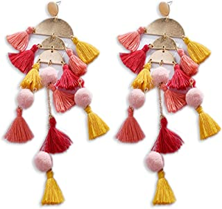 Handmade Long Tassel Earrings Boho Fringe Earrings Beach Wedding Pom Pom Earrings Gift for Women Girls Summer Trend