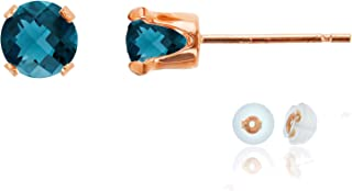 Solid 10K Gold Yellow, White or Rose Gold 5mm Round Genuine Gemstone Birthstone Stud Earrings