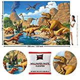 GREAT ART Fototapete Dinosaurier 336 x 238 cm – Kindertapete 8 Teile Tapete inklusive Kleister