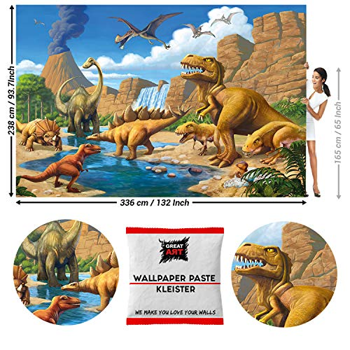 GREAT ART Fototapete Dinosaurier 336 x 238 cm – Jurazeit Saurier Abenteuer Jungen Mädchen Reptilien Kinderzimmer Wandtapete Dekoration Wandbild – 8 Teile Tapete inklusive Kleister