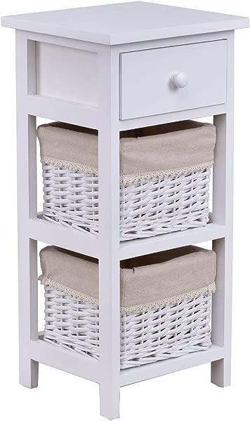 Casart Wooden Bedside Table Nightstand Chest Cabinet Bedroom Furniture Drawer Baskets 1