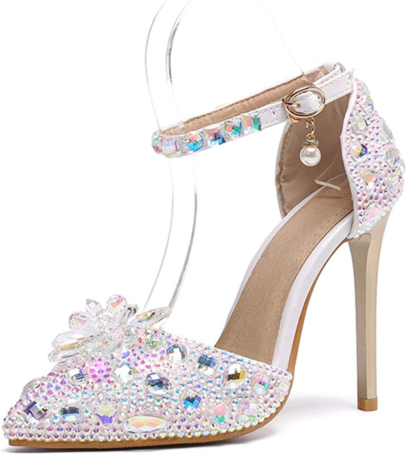 Women's Ankle Strap Pump Stiletto Heels Sandals Court shoes Party Dress Wedding Evening Rhinestones High Heel Pointed Toe