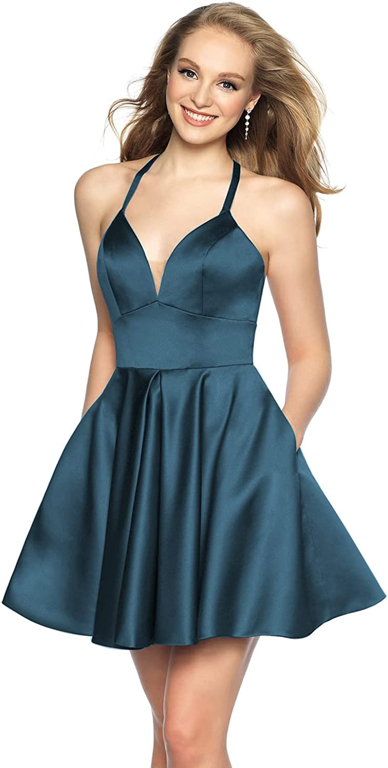 Clothfun Short Spaghetti Straps V-Neck A-line Homecoming Dresses with Pockets Prom Formal Dress for Women