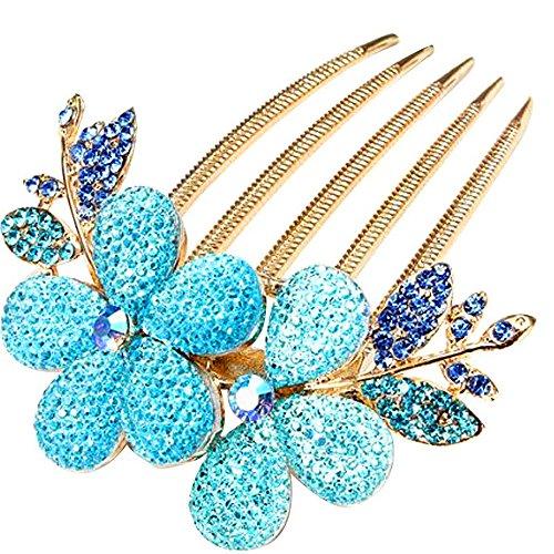 Vococal® Mode Cheveux Peigne Clip Alliage Strass Épingle à Cheveux Barrette Fleur Modèle Filles Cheveux Accessoires Bleu