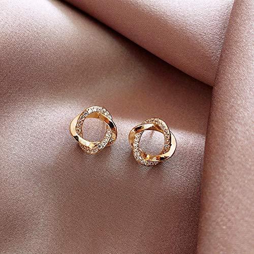 Earrings Women Studs Fashion Contracted Geometric Circular Fine Crystal Earrings Design Sweet Small Joker Shiny Women Stud Earrings Jewelry