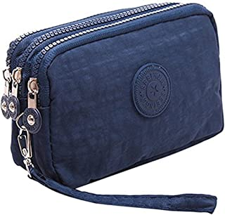 cfbe16082 Fueerton Multifunction 3 Layers Zipper Key Card Phone Pouch Coin Money Bag  Purse Wallet (Navy